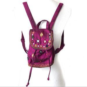 Mini Backpack Jeweled Color Satin Silk Drawstring